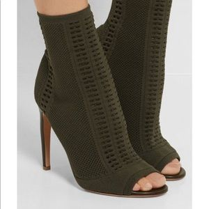 Army green knit boots